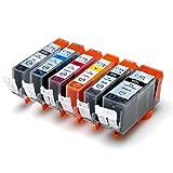 CANON キャノン BCI-326 (BK/C/M/Y/GY) + BCI-325BK 6色マルチパック LED&残量表示可能ICチップ付 互換インクカートリッジ 最優良品質【ハニハニ製 1年サポート】
