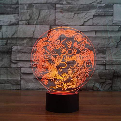 usb 3D Touch-knop nachtlampje draak Chinese draak en fenice tafellamp modelleerbaar woonkamer sfeer sfeer cadeau Nieuwjaar