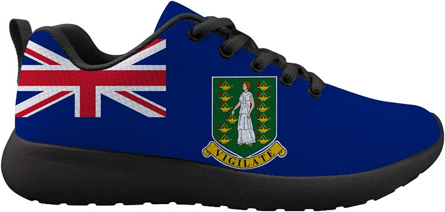 Owaheson Cushioning Sneaker Trail Running shoes Mens Womens The British Virgin Islands Flag