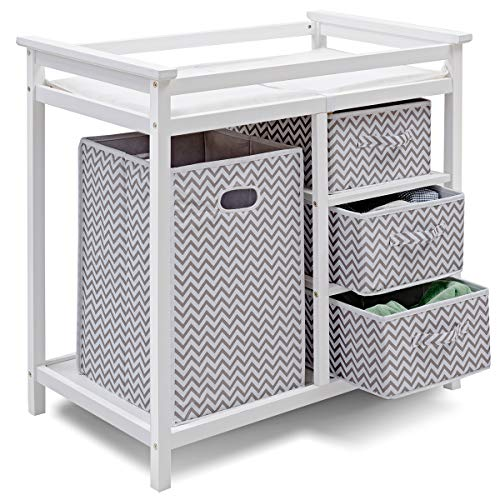 Costzon Baby Changing Table, Infant Diaper Changing Table Organization, Diaper Storage Nursery Station with Hamper and 3 Baskets (White+Gray)