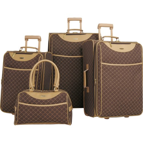 Pierre Cardin Signature 4 Piece Luggage Set, Brown, One Size