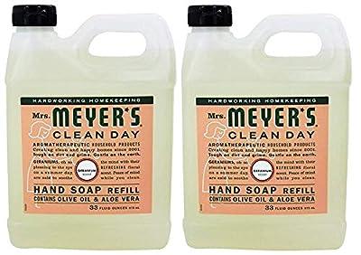 Mrs. Meyer's Clean Day Liquid Hand Soap Refill, 33 oz, Geranium, (Pack - 2)