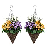 GreenBrokers Purple & Yellow 2X Artificial Cone Shaped Hanging Baskets Pansies and Decorative Grasses (Set of 2)