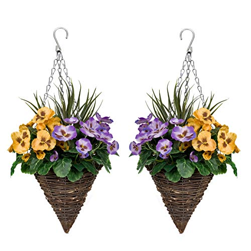 GreenBrokers Purple & Yellow 2X Artificial Cone Shaped Hanging Baskets Pansies and Decorative...