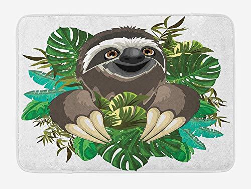 Casepillows luiaard badmat, Cartoon zoogdier op tropische jungle met groene banaan bladeren schattig karakter, pluche badkamer Decor Mat met non-slip backing, 23,6 x 15,7 inch, chocolade groene ivoor