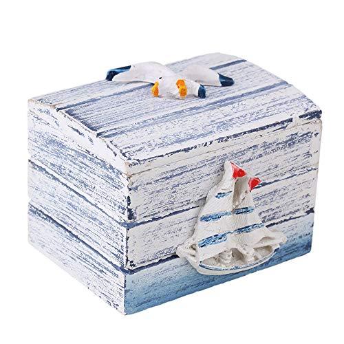 BQLZR Small Nautical Deco Box Mediterranean-Style Wooden Jewelry Treasure...