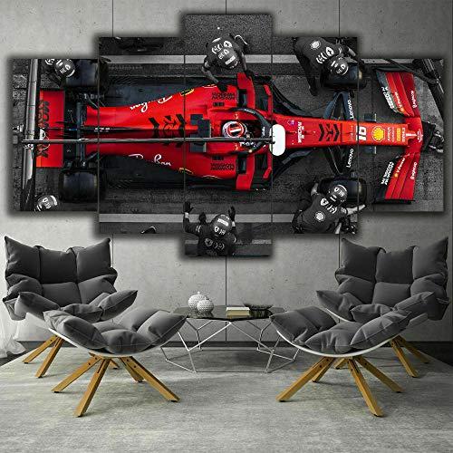 hgjfg Lona Murales Cuadro Moderno en Lienzo 5 Piezas XXL Impresiones En F1 Ferrari Charles Leclerc Pit HD Arte De Pared...