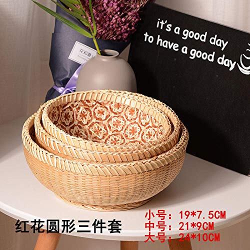 Yanxinenjoy Bambusgewebe, umweltfreundlicher handgewebter Aufbewahrungskorb für Gemüse und Obst, dreiteiliger Anzug-Rundes dreiteiliges Set
