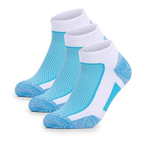 Wonewin 3 Pares Calcetines Running Para Hombre Mujer - Deporte Calcetines Cortos de Algodón Con Amortiguación Respirable Running Ciclismo (Azul, L)