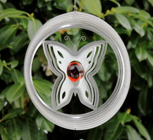 "Edelstahl Windspiel ""Schmetterling""mit 35 mm Glaskugel -Kugelfarbe wählbar- absolut Wetterfest"