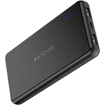 Portable Charger RAVPower 10000mAh Power Bank Dual USB Ports Battery Pack Ultra Slim Total 3.4A iSmart Output Charger Light External Battery Pack Compatible with iPhone Samsung Galaxy and More