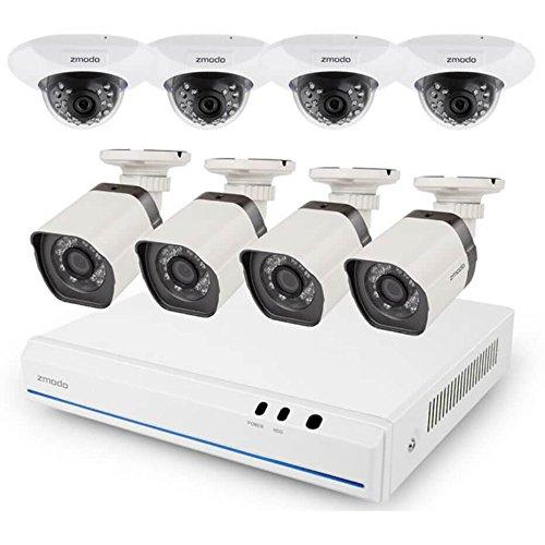 ZMODO 8CH 720p HD G2 sPoE Überwachungskamera System mit 4 Indoor und 4 Outdoor IP-Kamera ohne HDD, ZM-SS76D9D8-SC