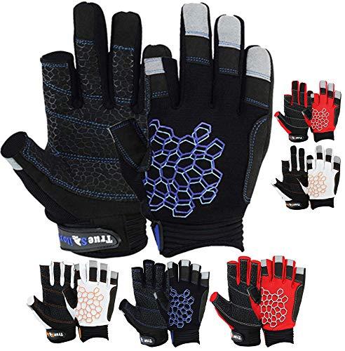MRX BOXING & FITNESS Sailing Gloves Sticky Palm Gripy Glove Yachting Kayak Dinghy Fishing 2 Cut Finger (Black Small)