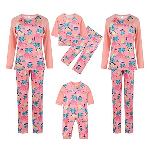 Familia a juego pijamas de Navidad vacaciones conjuntos de ropa de dormir de manga larga pijama de ciervo conjuntos de ropa de dormir de alce pijama (d-rosa, hombres, M)