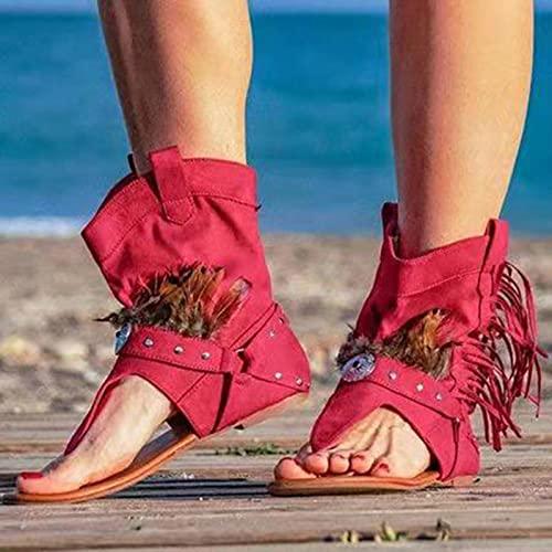 DZQQ Chaussures décontractées Femme Gland Rome Gladiateur Sandales pour Femmes 2021 Sexy Bottes d'été Clip Toe Dames Confort Nouvelles Chaussures féminines