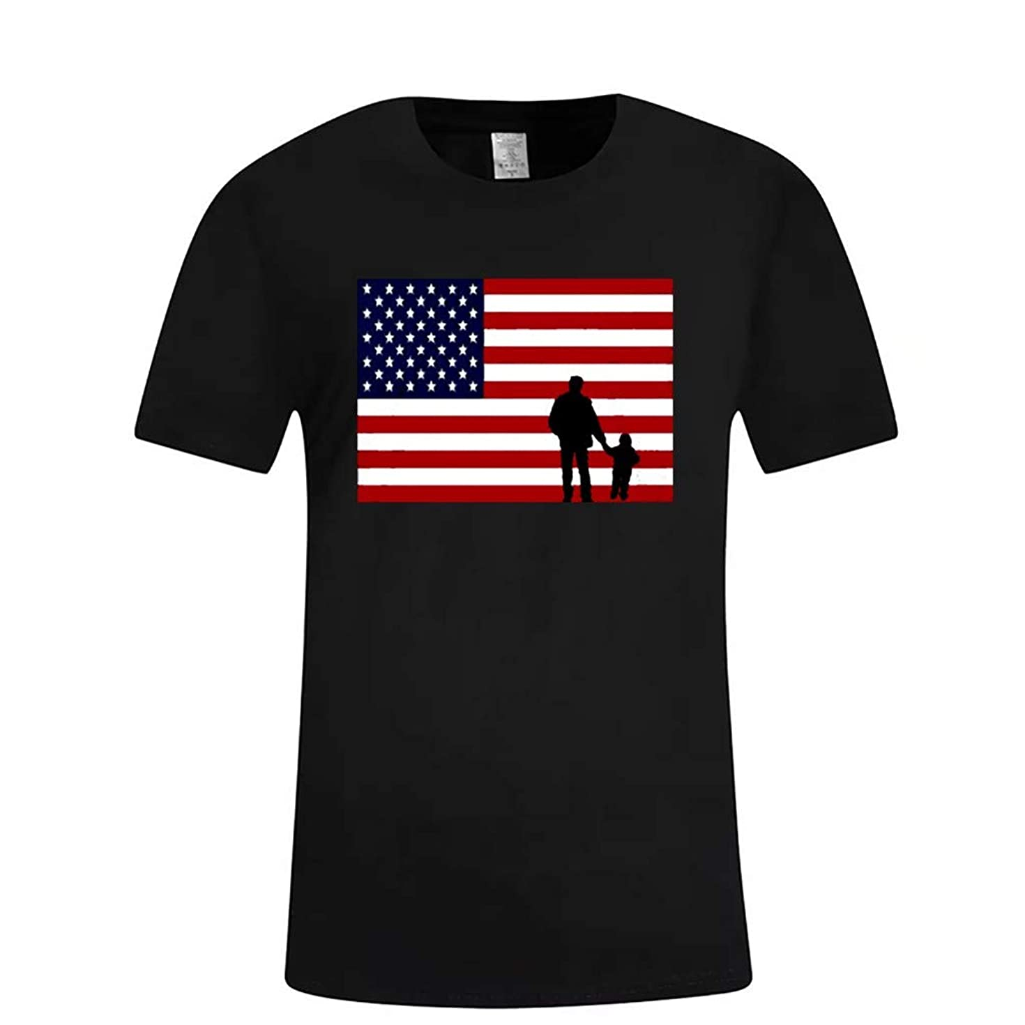 Kinglly Fashion 4th of July T-Shirt Men's Short Sleeve USA Flag Fit Comfortable Casual Slim T-Shirt Sport Top Blouse