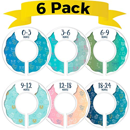 CORRURE Closet Dividers for Baby Clothes - Set of 6 Nursery Closet Size Dividers from Newborn to 24 Months - Best Baby Closet Hanger Organizer for Boy or Girl - Ideal Baby Shower Gift (Blue)