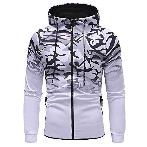 Sweat-Shirts Homme,FNKDOR Hommes L'automne Hiver Couture Camouflage Chemise Coupe Slim Manche Longue Sweat à Capuche Haut Chemisier Blouse Tops(Blanc,3XL)