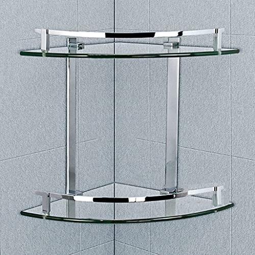 Baño Estante de Vidrio Estante de Vidrio Templado de 2/3 Niveles Estantes de La Esquina Del Cuarto de Baño Estantes Organizadores de Almacenamiento Montados en La Pared Almacenamiento de(Size:2 layer)