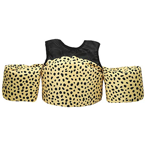 Little Fin Swimmer Float Vest for Pool, Black, Tan, Cheetah Print, Kids Floaty Accessory from 30 to 50lbs, Toddler Swim Vest with Arm Wings Girls Zara Swimmer