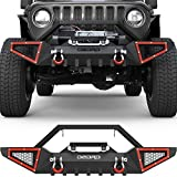 OEDRO Front Bumper Compatible with 2018-2021 Jeep Wrangler JL & Unlimited JLU (2/4 Doors), 2020-2021 Gladiator JT, Rock Crawler Off-Road Bumper with Winch Plate Mounting & 2 x D-Rings
