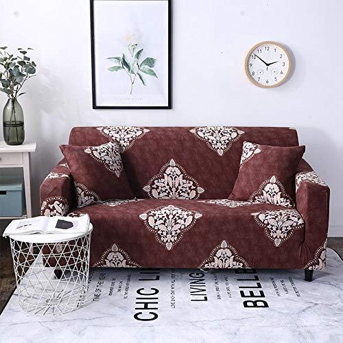 1 Plazas Funda de Sofá,Jacquard Poliéster Funda Sofa ,Impresión Marrón Elasticas Suaves Resistentes Sofa Antideslizante Cubierta para Sofa Protector