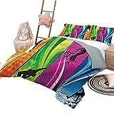 Juego de edredón para niños Tamaño Completo Deportes Ropa de Cama cómoda Extra Ligero Moderno Deportes Extremos Bordes de Color
