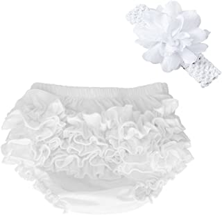 Baby Girl's Cotton Shorts and Diaper Cover Bloomers Shorts+Headband in Set