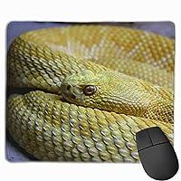 黄ヘビ 動物 野生動物 毒蛇 ガラガラヘビ マウスパッド 運びやすい オフィス 家 最適 おしゃれ 耐久性 滑り止めゴム底付き 快適操作性 30*25*0.3cm