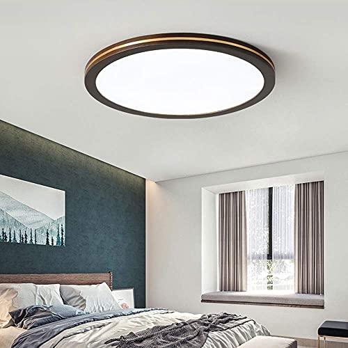 HLY Lámpara moderna simple, sala de estar negra, dormitorio, redonda, súper delgada, empotrada, luz de techo, escalera, lavandería, regulable, estilo escandinavo, 3000 K-6000 K, accesorio de iluminac