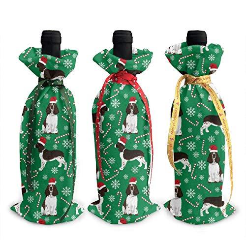 chengnan 3 bolsas para botellas de vino de Navidad, con diseño de Springer Spaniel, Papá Noel, decoración de Navidad, reutilizables, bolsas de regalo para cenas, fiestas, decoraciones de mesa