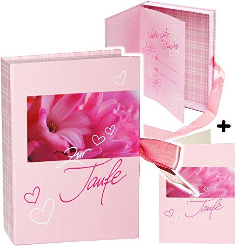 alles-meine.de GmbH Schatzkästchen / Geschenkbox / Fotobox -  zur Taufe - rosa  __ incl. Karte / Geschenkkästchen / Erinnerungsbox - Verpackung - Glückwunschkarte - Buch Baby -..
