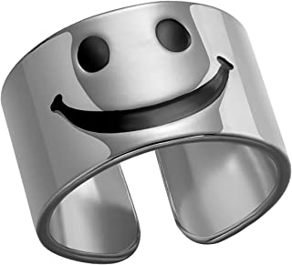 خاتم وجه مبتسم مكتنزة قابل للتعديل مبتسم مفتوح الذهب الفضي للنساء الرجال خواتم اليدوية بيان أنيقة