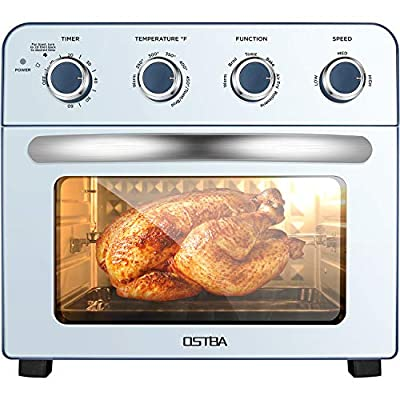 OSTBA Air Fryer Oven 1700W Air Fryer Toaster Oven Combo, 24QT/23L Convection Toaster Oven for Air Fry, Toast, Broil, Bake and Rotisserie, Double Glass Oven Door, 6 Accessories with 100 Recipes Cookbook