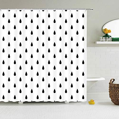Fmiljiaty Cortina de ducha con impresión en 3D, diseño moderno de gotas de lluvia, color negro, blanco, tela de poliéster, 180 x 180 cm