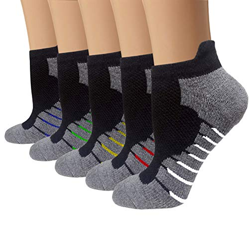 5 Pairs Copper Compression Ankle Socks Women & Men Sport Plantar Fasciitis Arch Support - Best For Athletic &Travel