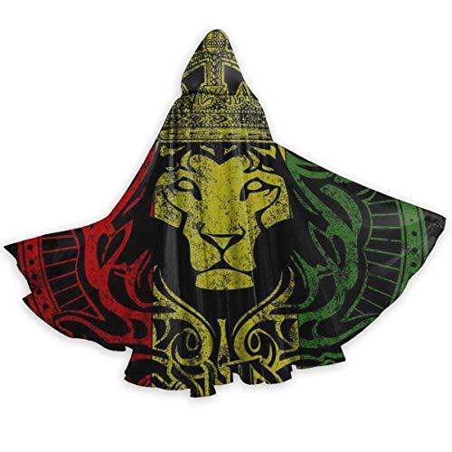 Dale Hill Afrikanische Flagge Der Löwe von Juda Rasta Rastafari Halloween-Umhang Fancy Hooded Cape mit Kordelzug Adult Cool Witch Robe Extra lang 59 '' Party Cape Black