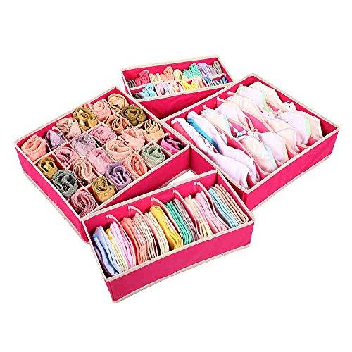 Gome-z Aufbewahrungsboxen für BHS, Unterwäsche, Aufbewahrungsboxen, Würfeleinteiler, 4 Stück, Beige rosarot