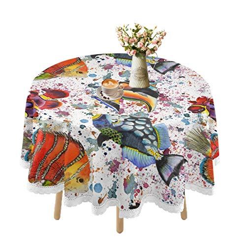 Mantel impermeable para mesas redondas, juego de manteles de encaje para mesa al aire libre, mesa de comedor, bodas, fiestas, cocina, día festivo, picnic decorativo de 60 pulgadas