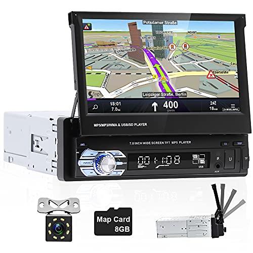 """Hikity 1 Din Autoradio mit Navi GPS Freisprecheinrichtung Für Auto Bluetooth mit Bildschirm 7"""" HD Touchscreen MP5-Player mit FM USB SD AUX-IN + Rückfahrkamera + Map Karte"""