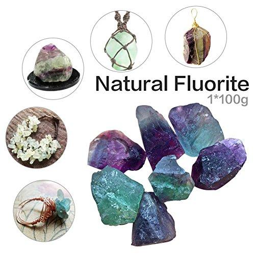 Seasaleshop - Piedra fluorita Natural de fluorita Preciosa Piedra Natural Pulida con Columna de Cristal para curación de energía Preciosa para Tratamiento, Chakra, decoración, 2-4,5 cm