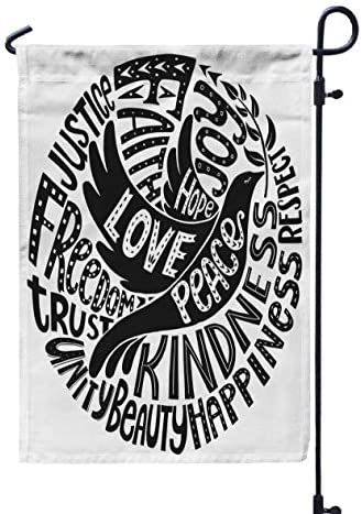 GROOTEY Welcome Outdoor Garden Flag Home Yard Decorative 12X18 Inches Dove Peace Words Love product image