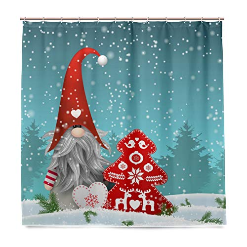 Wamika Lovely Sprite Weihnachten Zwerg Schneemann Duschvorhang 72W x 72H IN Schnee Schneeflocke Merry Christmas Tree Red Bells Badezimmer Vorhang Set mit Haken Santa Claus Happy New Year Dekoration