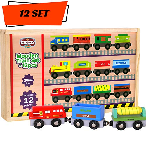 Wooden Train Cars - 12 Pack - A Kids Favorite Toy Train Set
