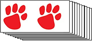Red Paw Prints Temporary Tattoos (10-Pack) | Skin Safe | MADE IN THE USA| Removable