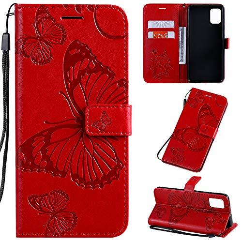 SMYTU Hülle für Samsung Galaxy A51,Handyhülle Leder Samsung Galaxy A51,Etui Klapphülle Magnetisch Ledertasche Schutzhülle für Samsung Galaxy A51(B-Rot)
