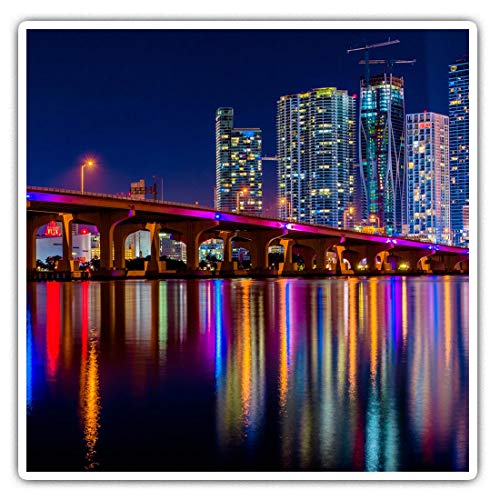 Awesome Square Stickers (Set of 2) 10cm - Miami Vice Skyline America Fun Decals for Laptops,Tablets,Luggage,Scrap Booking,Fridges,Cool Gift #45722