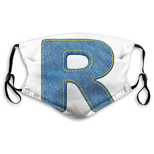 Retro Denim Style Alphabet Font Pattern with Capital R Letter Blue Jean Design,M,Face Mask Reusable Washable Masks Cloth for Men and Women