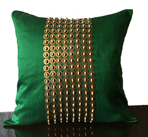 The White Petals Emerald Green Gold Decorative Pillow Cover with Gold Sequins and Wood Bead Embroidery in Panel Pattern (18x18 inch, Emerald Green)
