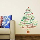 Wallflexi Pegatinas de pared para decoración de Navidad, diseño de árbol de Navidad, multicolor